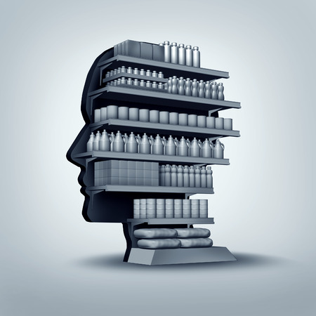 Consumer and customer concept as a store shelving unit shaped as a human head with generic products for sale as an economic and business symbol for personalized marketing and branding thinking or shopper education.