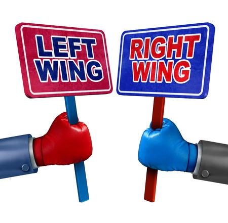 erhaltend: Linke und rechte Politik-Konzept als zwei Wahlkandidaten, die konservativen und liberalen Werte als Demokraten und Republikaner Debatte mit Zeichen und Boxhandschuhen. Lizenzfreie Bilder