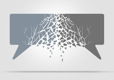 conflictos sociales: Concepto de la comunicación desglose como las burbujas del discurso icono symbold chocar contra uno al otro lo que resulta en daños como una metáfora de los problemas sociales de la charla y la diplomacia debatir y argumentos lugar de trabajo.