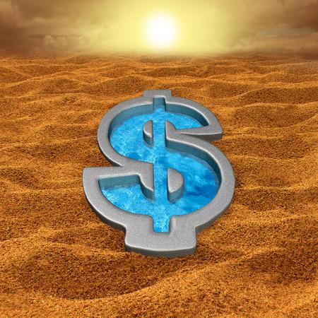 sequias: Alivio financiero y ayuda de la deuda concepto como un signo de dólar de natación en forma de piscina con agua fresca en un desierto de arena seca y caliente como una metáfora de dinero para la salvación económica o símbolo sequía. Foto de archivo