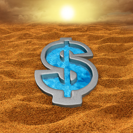 pool symbol: Financial relief and debt help concept as a dollar sign shaped swimming pool with fresh cool water in a hot dry sand desert as a money metaphor for economic salvation or drought symbol.