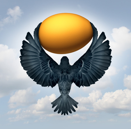 gold egg: Wealth management and transfer of funds as a financial and business investment concept as a flying bird carrying a gold egg as an investor symbol for managing savings. Stock Photo