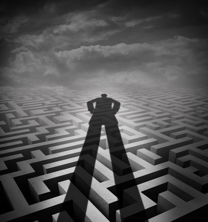counsel: Management consulting and new consultant solution concept as a shadow of a person or advisor on a complicated maze or labyrinth as a metaphor and symbol for providing counsel.