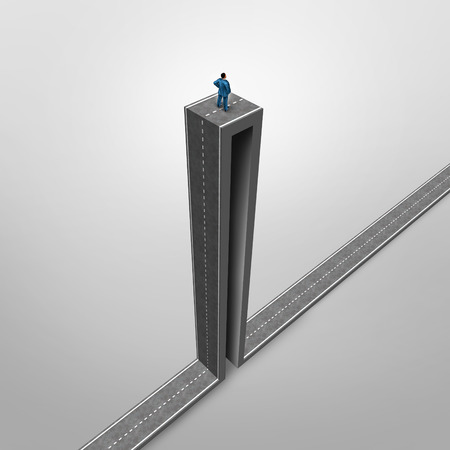 extreme angle: Career opportunity problem business concept as a stranded businessman on a road with an extreme high angle as a symbol for being trapped in a job or life challenges.