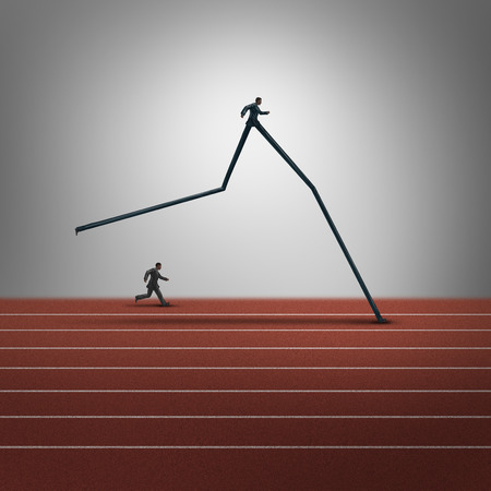 expertise concept: Business skills advantage concept and competitive dominance symbol as two running businessmen with oneperson with very long legs winning the race as a success metaphor for career superiority. Stock Photo