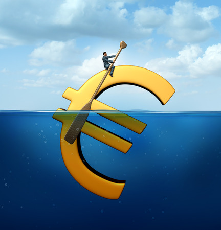 eurozone: Euro currency guidance financial concept as a european money icon floating in the water with a businessman using an oar to steer and guide the economic symbol.