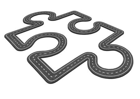 desarrollo económico: Puzzle concepto de carreteras como símbolo transporte y el icono de negocios para el desarrollo económico como una forma como una pieza de rompecabezas aislado en un fondo blanco carretera de asfalto.