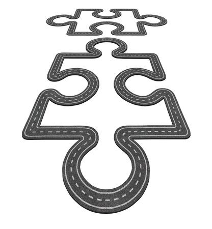desarrollo econ�mico: Concepto de conexi�n por carretera como dos piezas de un rompecabezas que se fusionen como un s�mbolo de transporte de la red y el icono de negocios para el desarrollo econ�mico como dos carreteras de asfalto con forma de piezas de puzzle.