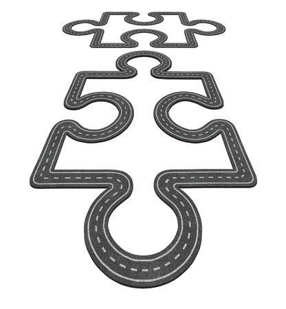 merging together: Road connection concept as two puzzle pieces merging together as a network transportation symbol and business icon for economic development as two asphalt highways shaped as a jigsaw pieces.
