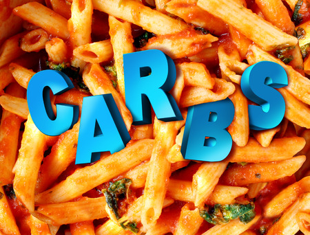 alergy: Carbs carbohydrates nutrition concept as a plate of cooked pasta with the word for complex sugar Stock Photo