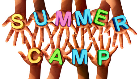 fun: Summer camp kids as multiethnic school chldren with open hands holding letters as a symbol of recreation and fun education with a group working as a team for learning success.