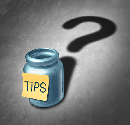 tipping: Tip jar symbol and tipping questions concept as a gratuity container with money inside casting a shadow shaped as a question mark as an icon for deciding how much money to give for service.