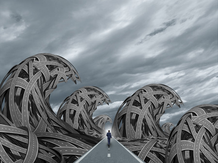 Road with ocean storm waves as a determined business solution concept waves shaped with tangled highways. Stock Photo