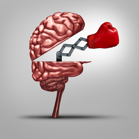 fight: Strong memory and brain strength symbol as a human thinking organ opened to reveal a boxing glove as a concept Stock Photo
