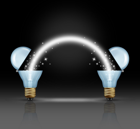 synergism: Idea teamwork concept as two open light bulbs glowing a light to connect to each other as a unity symbol of innovation partnership success. Stock Photo