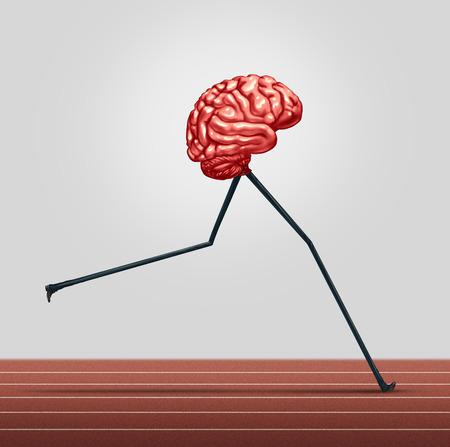 Cerebro rápido y el concepto de entrenamiento de la memoria como un órgano pensante humana con las piernas corriendo en una pista como un símbolo de la atención de salud