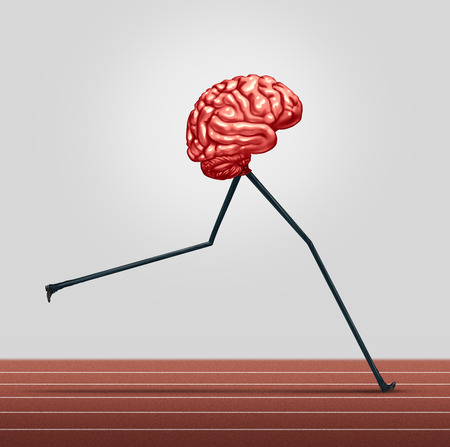 Fast brain and memory training concept as a human thinking organ with legs running on a track as a health care symbol
