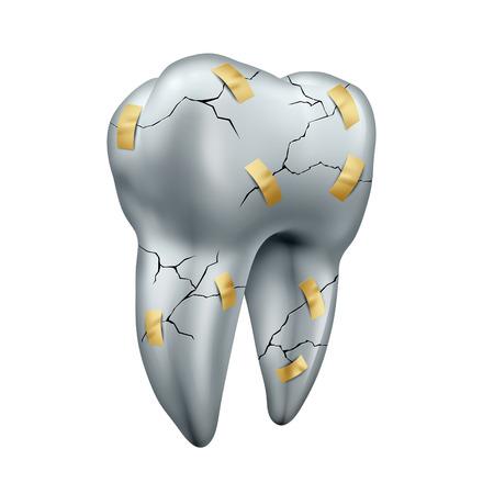 歯修復歯科概念歯科手術を修正または修復するための医療のシンボルとして、白い背景で隔離された歯科隠喩としてテープでひびの入ったモルとし 写真素材