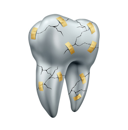 Tooth repair dental concept as a health care symbol for dentist surgery or fixing or repairing damaged teeth due to decay or cavities as a cracked molar with tape as a dentistry metaphor isolated on a white background. Stock Photo