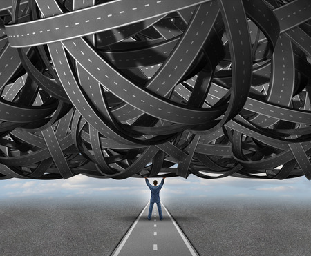 Solutions concept road metaphor as a businessperson lifting a massive group of tangled roads or highways to reveal a an open simple clear straight path to success as a symbol for management skills and leadership.