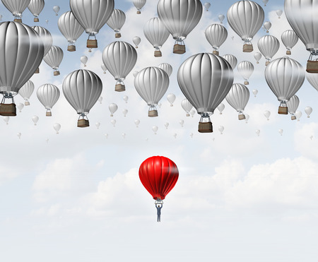 Late career as a businessman in a red hot air balloon trailing and falling behind a group of competitors as a business concept for catching up and job aspirations to join an organization. Standard-Bild