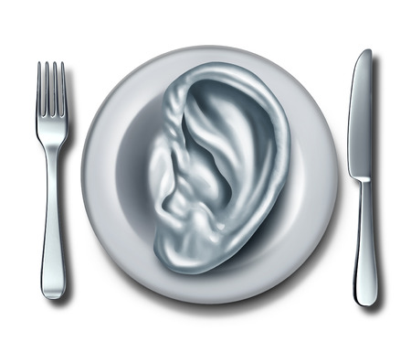 weight loss plan: Diet advice and nutrition information food concept as a white dish shaped with an ear as a symbol of listening to dietary recommendations and following meal guidlines or restaurant reviews.