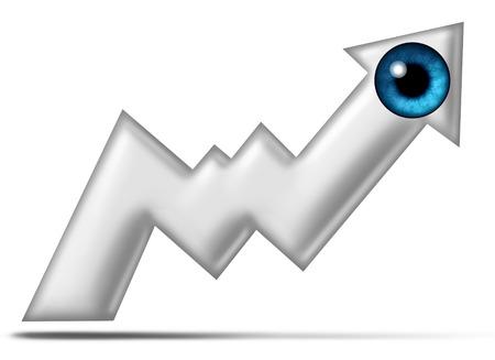 eye ball: Visi�n Profit buscar el futuro en la b�squeda de oportunidades de riqueza rentables como una bola del ojo humano en forma de una carta de la bolsa financiera flecha sobre un fondo blanco.