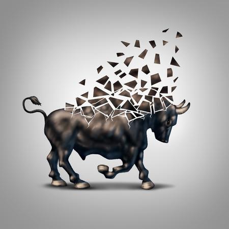 crisis economica: Mercado alcista Frágil concepto de la crisis financiera como un símbolo económica para obtener la previsión y la inversión positivo en ruinas cayendo a pedazos debido a la pérdida de valoración en el mercado de valores.