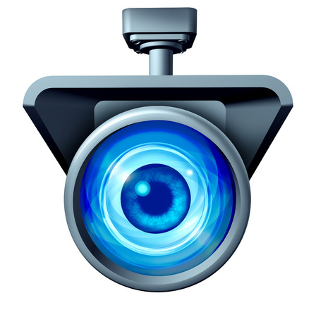 big brother: Video surveillance and big brother is watching concept as a security camera monitoring the public with a large eye spying as a symbol for privacy rights issues isolated on a white background.