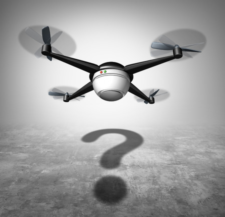 social issues: Drone question and unmanned aerial vehicle in flight with a cast shadow shaped as a question mark as a symbol for new surveillance and shipping technology social issues.