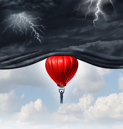 Positive outlook and recovery concept as a person or businessman riding a red hot air balloon lifting the dangerous dark stormy skies to reveal a bright warm blue sky as a mindset symbol of managing economic or emotional perception. Stockfoto