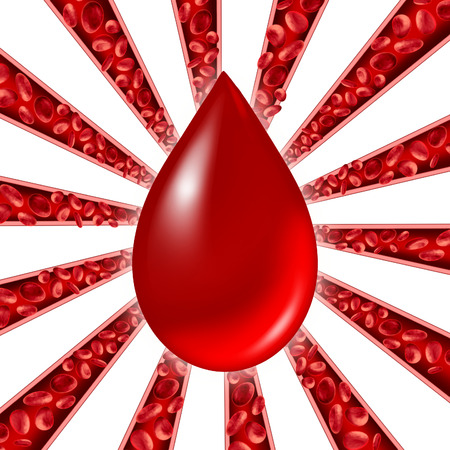 coagulate: Blood donation symbol as red cells flowing through veins and human circulatory system with a group of arteries shaped as a starburst pattern representing a cardiovascular medical health care symbol.