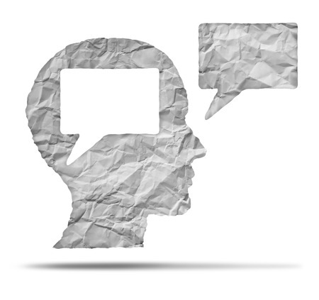 speak out: Speak out concept and express your opinion symbol as a crumpled paper shaped as a human head and talk balloon as a communication icon for broadcasting inner thoughts. Stock Photo