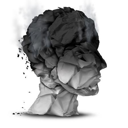 enfermedades mentales: Burnout exceso de trabajo concepto y símbolo de estrés en el trabajo para un diagnóstico psicológico trastorno emocional como una cabeza humana hecha de papel de oficina quemada sobre un fondo blanco.