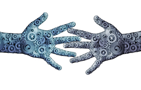 hands connected: Working business teamwork concept