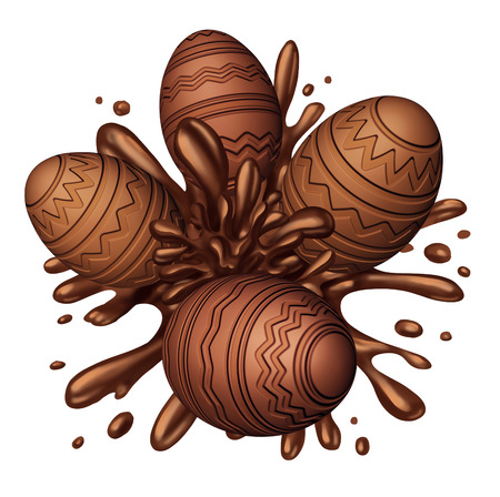 confectionary: Chocolate egg splash as easter eggs made of delicious sweet ingredients splashing in brown liquid confectionary candy as a festive fun spring food symbol.