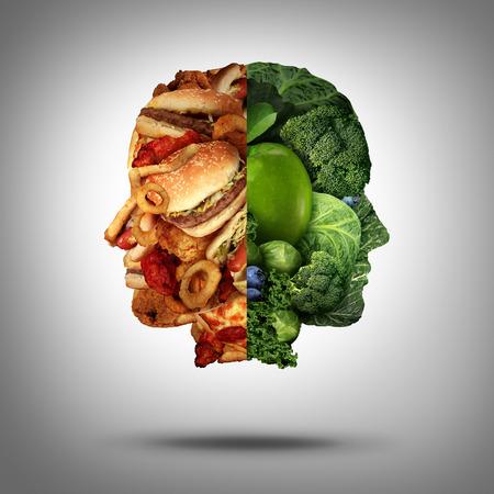 buena salud: Concepto del alimento y símbolo de decisión dieta Foto de archivo
