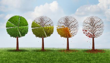 crisis economica: Cuota de mercado concepto declive como un grupo de árboles en forma como un gráfico circular perder gradualy hojas como símbolo crisis financiera y el icono de la pérdida de la inversión.