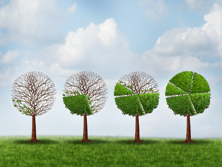 grow: Economic prosperity financial concept as a group of green trees shaped as growing finance pie chart as a metaphor for gradual gains in company stock or competitive wealth success. Stock Photo