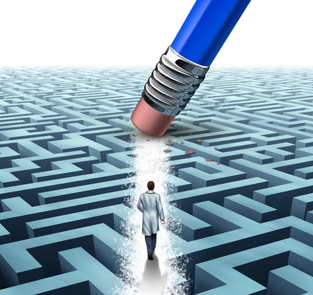 Medical leadership health care concept as a doctor or scientist walking through a maze that has been erased by a blue pencil