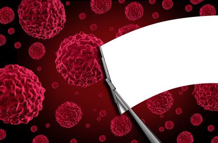 Cancer gratis medische begrip als een windscherm venster wisser afvegen kankercellen menselijke cellen