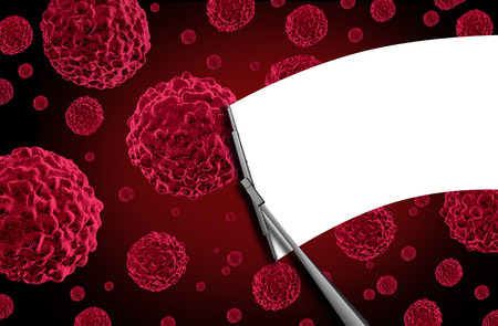 Concepto médico gratuito cáncer como una escobilla de limpiaparabrisas ventana parabrisas limpiando las células humanas cancerosas