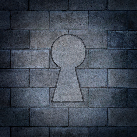 blockade: Opportunity discovery as a wall made of concrete blocks with one cinder block shaped as a key hole as abusiness symbol or a secure firewall password concept.