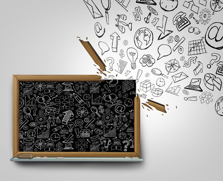 broken strategy: Business plan communication outside the box concept as a blackboard with financial office icons sketched on the surface breaking away with a broken frame spreading the strategy globally as a career training or education symbol.