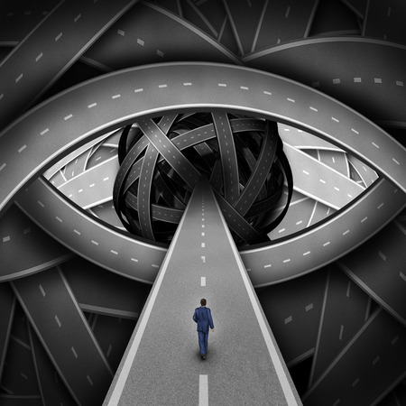 Recruitment visionary road and business recruiting concept as a businessman walking on a straight path into a group of streets shaped as a human eye as a success metaphor for searching for new career opportunities. Stock Photo