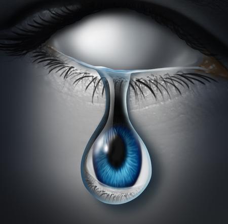 in tears: Concepto perdido persona o víctima anónima y símbolo emotionaly drenado como un ser humano en blanco vacía llorando una lágrima con un globo ocular dentro del líquido como un icono para la adicción a la droga o la pérdida de la identidad. Foto de archivo
