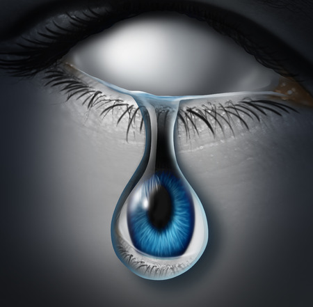 symbol victim: Lost person concept or anonymous victim and emotionaly drained symbol as a blank empty human crying a tear with an eye ball inside the liquid as an icon for drug addiction or identity loss.