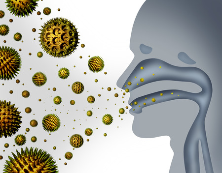 Hay fever and pollen allergies and medical allergy concept as a group of microscopic organic pollination particles flying in the air with a human breathing diagram as a health care symbol of seasonal illness.