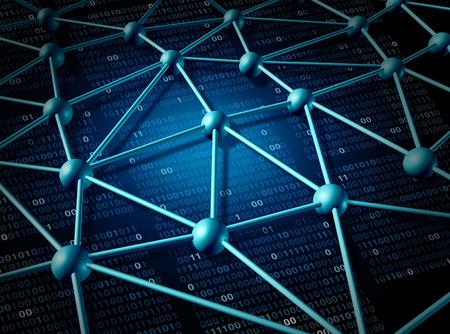 Structure de télécommunications du réseau mondial et le concept de mise en réseau avec la grille de connexion sur l'Internet comme un abstrait de la technologie des affaires avec le code binaire représentant la communauté du serveur d'informations et de données numériques. Banque d'images