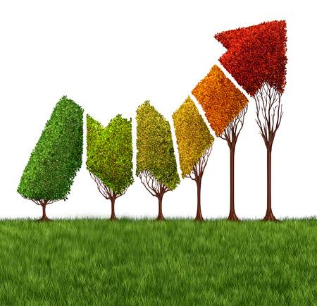 Anual concepto informe financiero y el símbolo de la madurez del mercado como un grupo de árboles en forma como una flecha rentable mercado de valores gráfico de flecha estaciones cambiantes y colores de la hoja como una metáfora financiera o negocio para una economía madura.